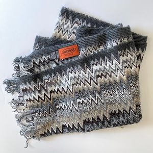 Missoni Grey Chevron Wool Blend Scarf